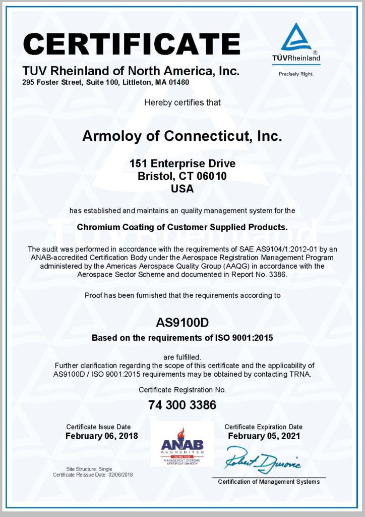 Isoas Armoloy Of Connecticut Inc